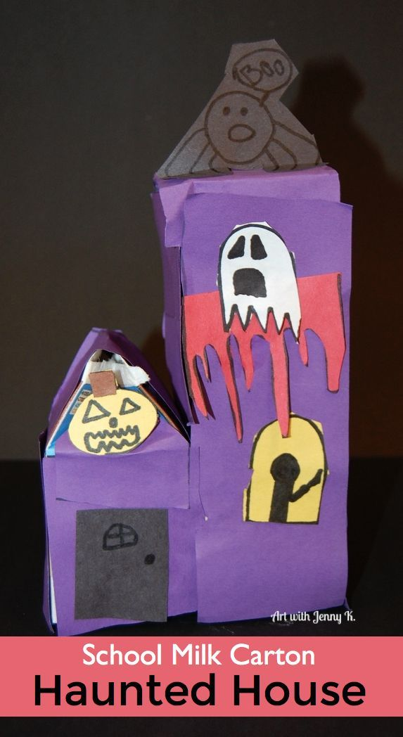 Milk Carton Halloween Crafts Part - 38: Halloween Haunted Houses Made Out Of Milk Cartons From The School Lunch  Room.