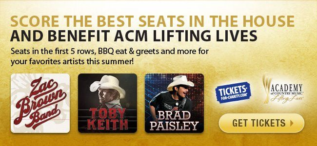 Toby Keith, Brad Paisley And Zac Brown Band Team Up With Tickets-For-Charity To Benefit ACM Lifting Lives http://www.countrymusicrocks.net/2012/06/toby-keith-brad-paisley-and-zac-brown-band-team-up-with-tickets-for-charity-to-benefit-acm-lifting-lives.html#