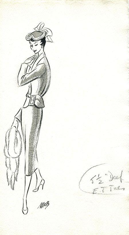 Margaret Oliver Brown fashion illustration (archive reference: DC/51/2/18).