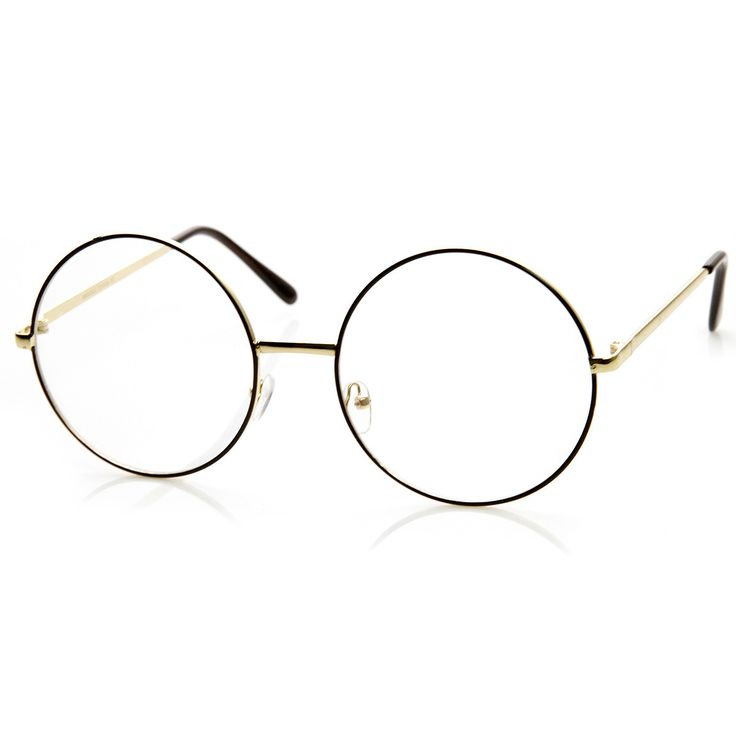 Vintage Era Super Large Round Circle Metal Clear Lens Glasses 8714