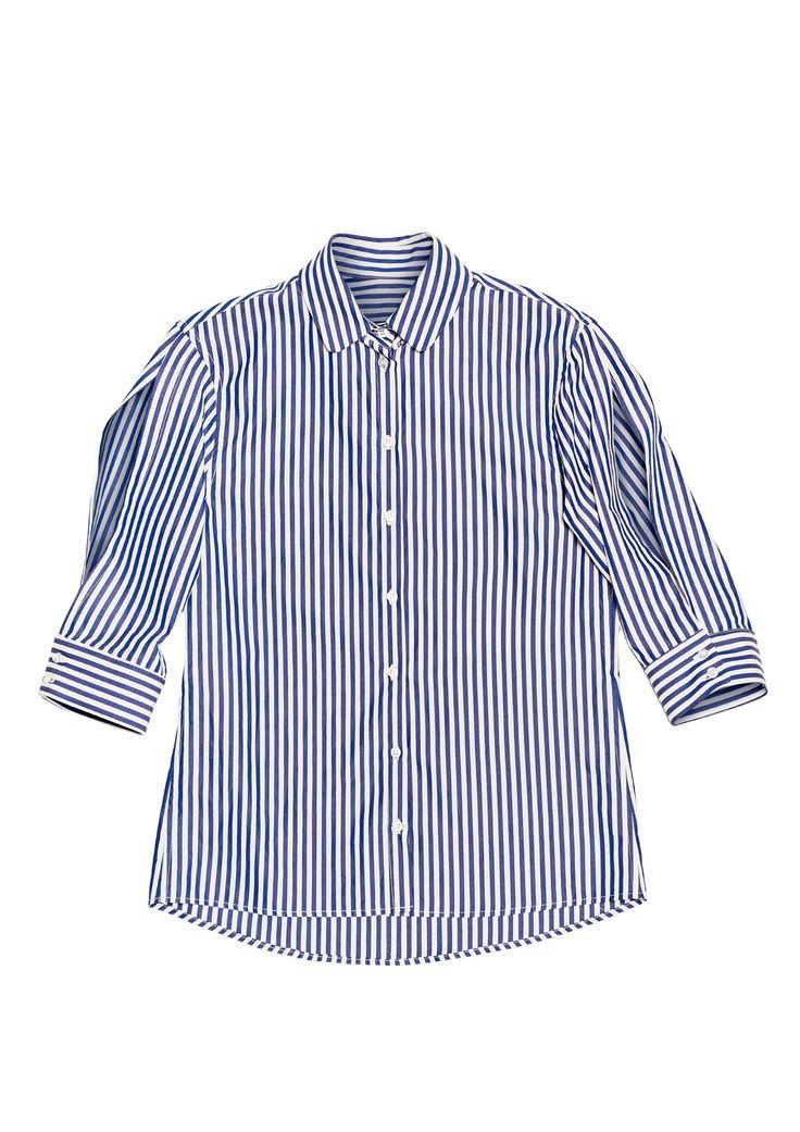 Camicia righe bianca/blu con maniche aperte