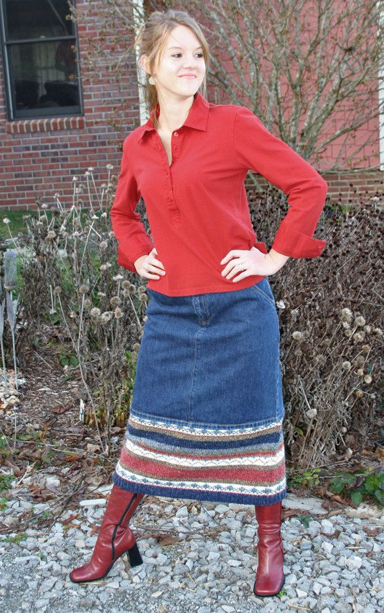 Denim skirt w/ upcycled sweater - very pretty look