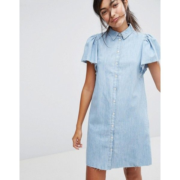 Bershka Button Front Denim Dress ($45) ❤ liked on Polyvore featuring dresses, blue, blue color dress, denim dress, button down front dress, bershka and bershka dresses