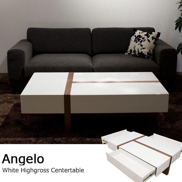 ホワイトハイグロス仕上げ 収納付きリビングテーブル / Angelo #table