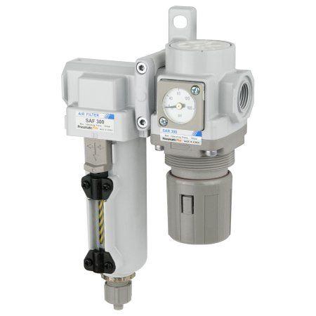 PneumaticPlus SAU320-N03GS-MEP Compressed Air Filter Regulator Combo 3/8 inch NPT - Metal Bowl, Manual Drain, Bracket, Embedded Gauge