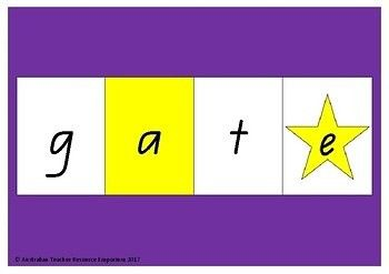 CVCe Word Builder.  Colour coded CVCe word building mat helps phonetic spellers begin to form CVCe words. Consonants are printed on white tiles to match the word building mat, vowels are printed on yellow tiles to match the word building mat, and 'magic' e's are printed on stars.  Great small group, whole class, or individual activity.  https://www.teacherspayteachers.com/Product/CVCe-Word-Builder-3224254    Facebook…