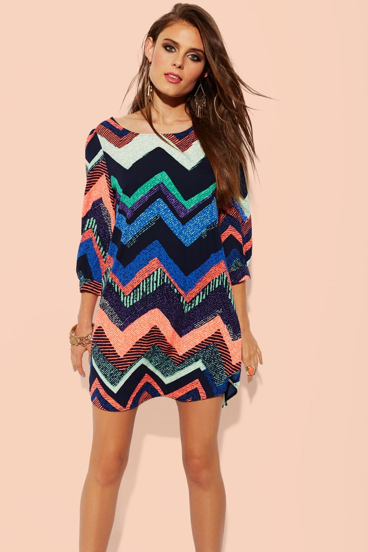 Printed Chevron Shift Dress: Charlotte Russe