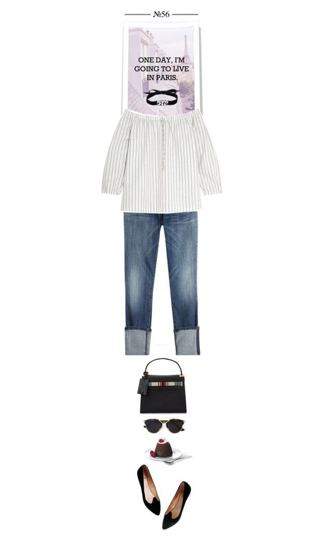 """""""One day, I´m gonna live in Paris..."""" by thehamptonsgirl ❤ liked on Polyvore featuring Valentino, Current/Elliott, Madewell, Roxanne Assoulin and Christian Dior"""