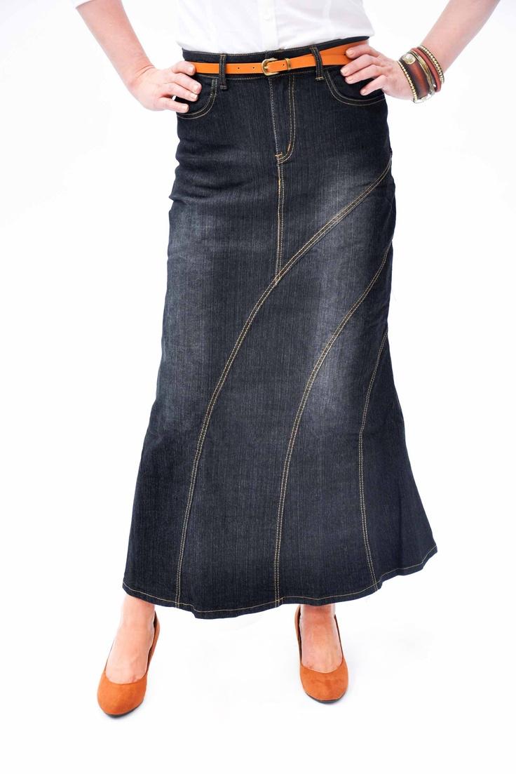 Long Jean Skirts | Home / Skirts / Long Denim Skirts / Denim Long Skirt - Black (SKIRT38)