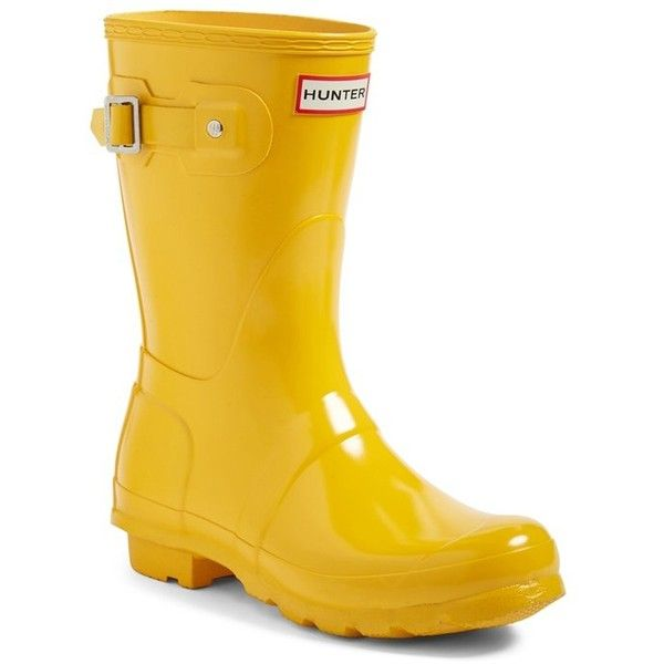 Women's Hunter 'Original Short' Gloss Rain Boot ($140) ❤ liked on Polyvore featuring shoes, boots, yellow, wellington boots, rubber boots, hunter shoes, hunter boots and polish shoes