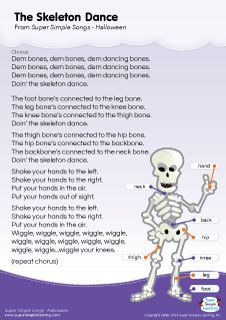 Lyrics poster for The Skeleton Dance Halloween song from Super Simple Learning. #kidssongs #kindergarten #ESL