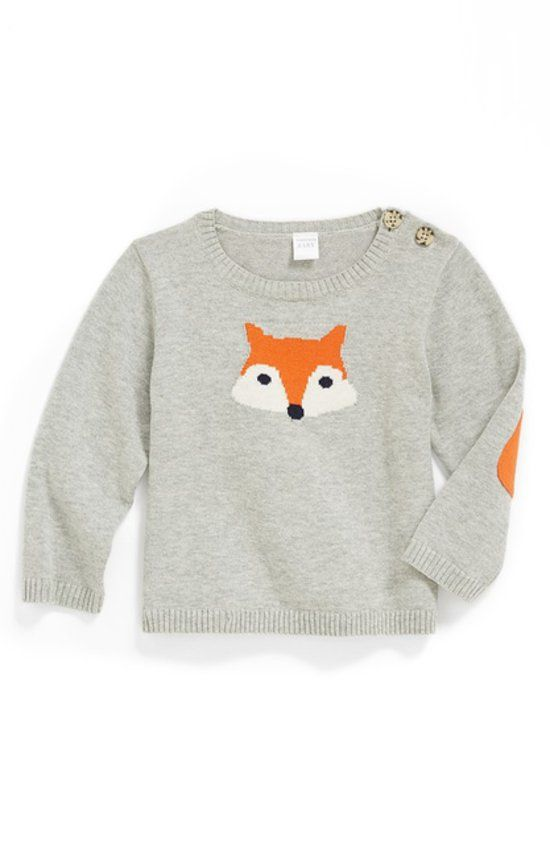 Nordstrom Baby Intarsia Knit Sweater: Nordstrom Baby's Intarsia Knit Sweater ($34) is made of 100 percent cotton and features a smart fox face and orange elbow patches.