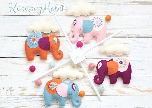 Mobile - Baby mobile, nursery mobile, elephant mobile - ein Designerstück von KarapuzBoutique bei DaWanda