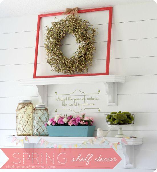 Spring Shelf Decor houseofsmiths.com #spring #decor #decorations #shelf #decorating