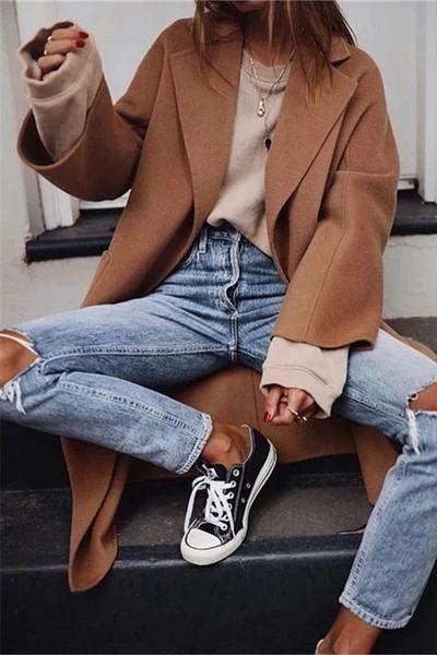British Model Trend Massive Lapel Pocket Lengthy-Sleeved Coats