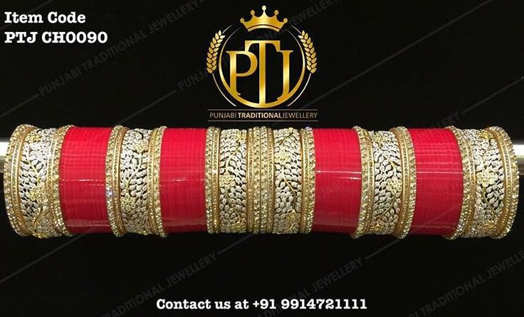 """""""Punjabi Traditional """"Gold & Silver American Diamond Red Wedding Chura"""" Item Code - PTJ CH0090 For price please inbox with Image or WhatsApp at this…"""""""