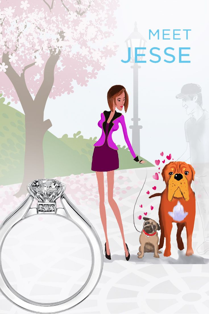Jesse always dined at the hottest restaurants in hopes of meeting a dashing debonair who'd sweep her off her feet. So it was a shock to her when she fell in love with and accepted the proposal of Dan, whose mastiff became playmates with her pug at the dog park. Sometimes it just takes a collision of irony and fate to create the perfect match. #jesse #artcarvedbridal