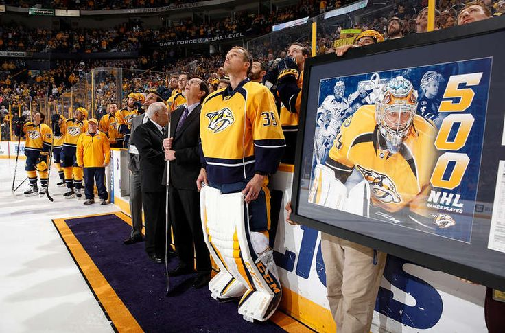 NASHVILLE, TN - MARCH 25: Pekka Rinne #35 of the Nashville Predators is honored pregame for his 500th career NHL game prior to a game against the San Jose Sharks during an NHL game at Bridgestone Arena on March 25, 2017 in Nashville, Tennessee. (Photo by John Russell/NHLI via Getty Images)