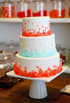Bakers continued to find creative, unexpected ways to embellish their confections—sculptural paper flowers, lace trimming, and even old-fashioned candies. Here, we applaud this clever use of rock candy crystals—the result is a wedding cake with a delightful straight-from-a-sweets-shoppe feel. Cake by Cocoa & Fig