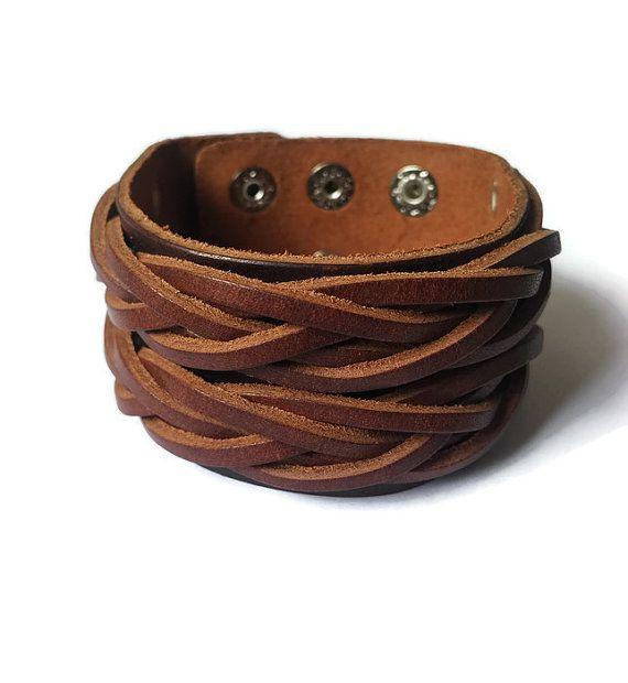 Brown Leather Arm Cuff Bracelet Mens Womens by BriAndAshStore