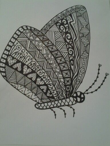 vlinder op Oost-Indisch inkt of fine-liner
