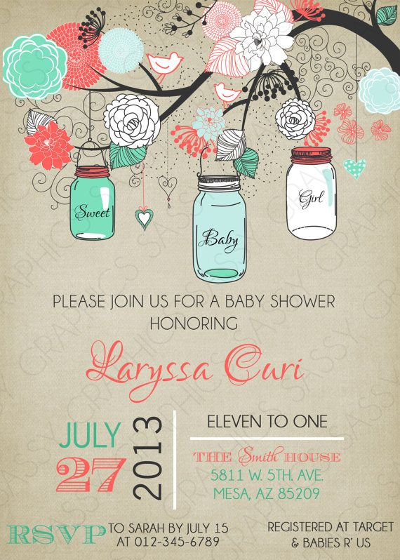 Girls Baby Shower Invitation Mason Jar by SassyGraphicsDesigns