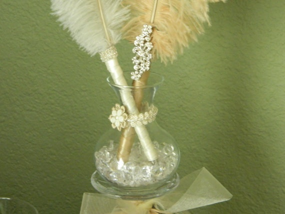 Items Similar To 2 Vintage Style Ostrich Feather Pens And Pen Holder With Rhinestones Non Smear Retractable Sharpie On Etsy