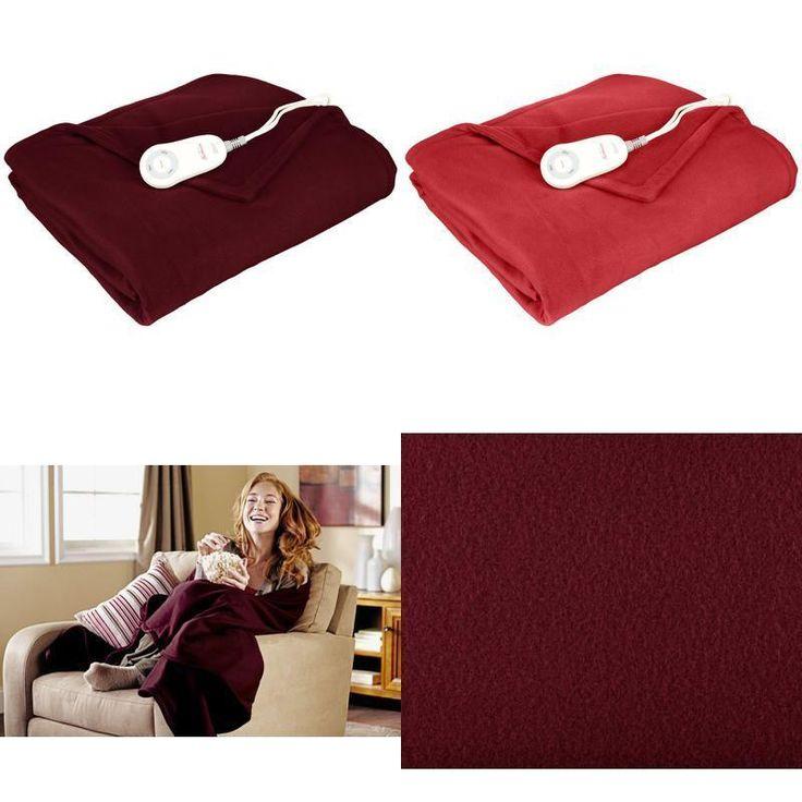 Sunbeam Fleece Heated Electric Throw Blanket Style Lighted Controller Garnet Red #Sunbeam