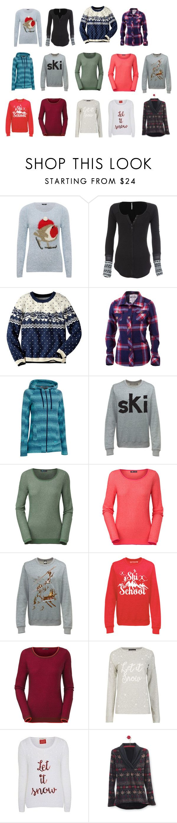 """""""Dream Closet-Ski 1 (tops)"""" by stephaniefb ❤ liked on Polyvore featuring moda, M&Co, Free People, Mons Royale, Under Armour, The North Face, snow, ski, winteressentials y plus size clothing"""