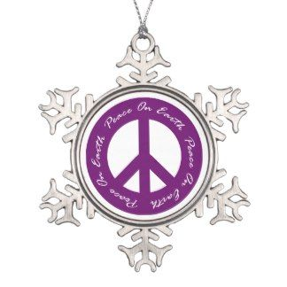 Peace On Earth Purple Holiday Peace Sign Ornament