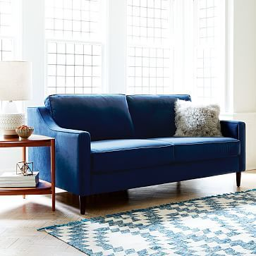love this sofa & the option to have a sleeper hidden in the room...(Paidge Sleeper Sofa - Ink Blue (Performance Velvet) #westelm)
