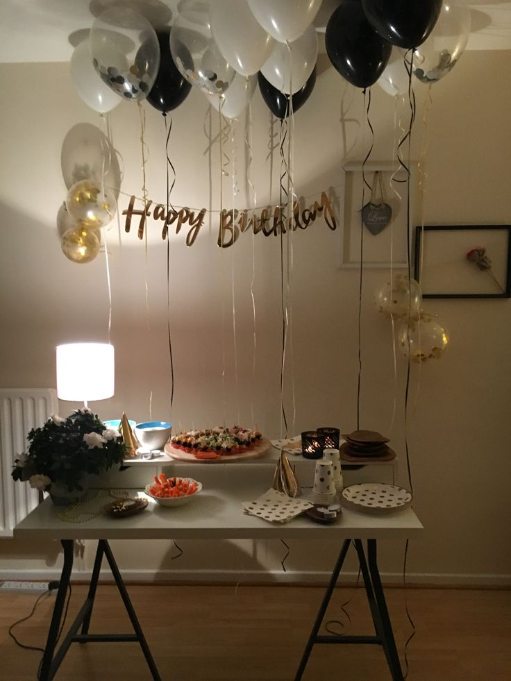 Birthday decoration idea for my husband black gold and