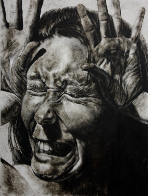 """Self-Portrait No. 16, etching ink and lithographic crayon on Dura-Lar, 48"""" x 36"""", 2011 by Clara Lieu"""