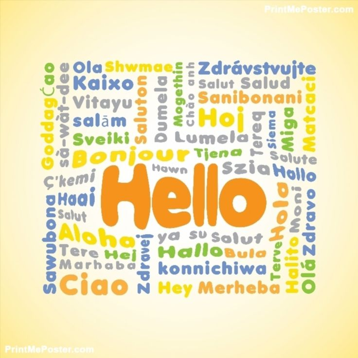 Poster of Hello Translations #poster, #printmeposter, #mousepad, #tshirt