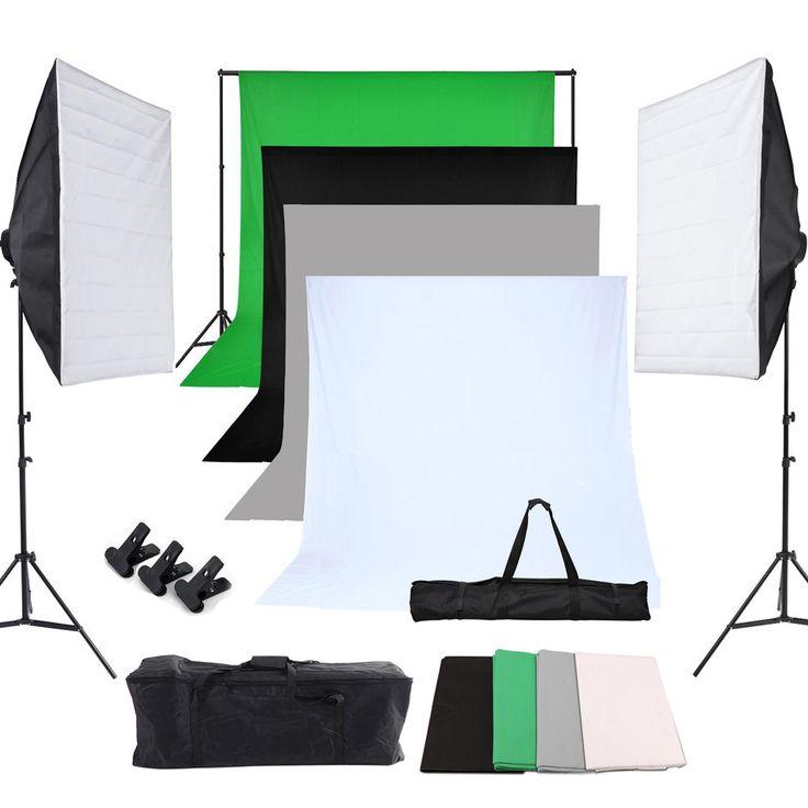 Fotostudio Set Hintergrundsystem Softbox Studioleuchte inkl. 4x Hintergrundstoff