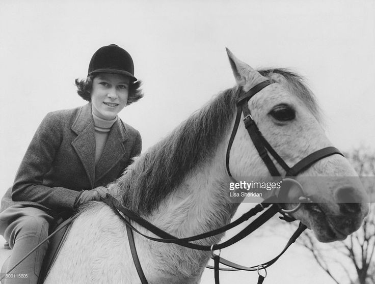 Princess Elizabeth out riding at the Royal Lodge, Windsor.