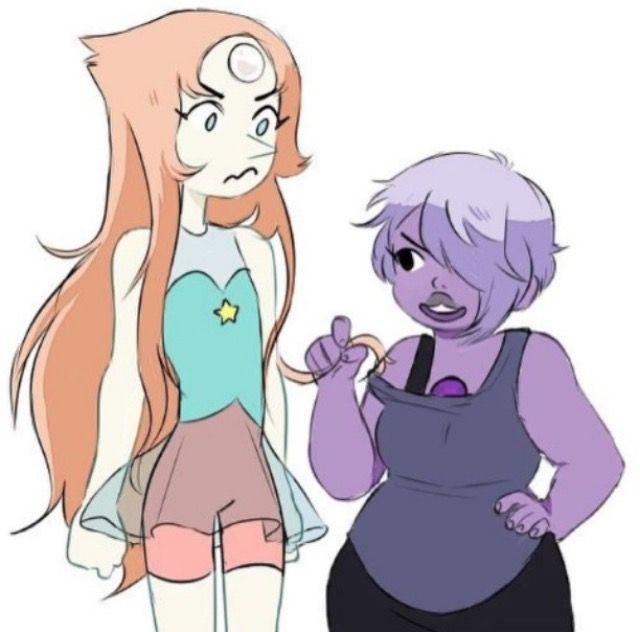 Amethyst looks like she has my hair, but Pearl looks like an anime figurine.