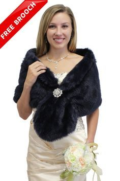 Bridal wrap bridal shrug Navy Blue Faux fur stole by TionDesign