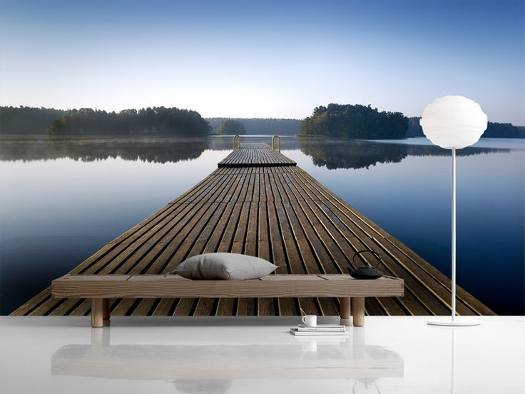 Wooden Pier at Morning - Wall mural, Wallpaper, Photowall, Home decor, Fototapet, Valokuvatapetit