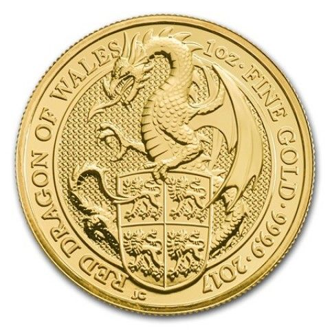 2017 1 OZ GREAT BRITAIN QUEEN'S BEASTS - THE RED DRAGON OF WALES 9999 GOLD COIN BU. #high #inflation #bullion #mint #gold #coins