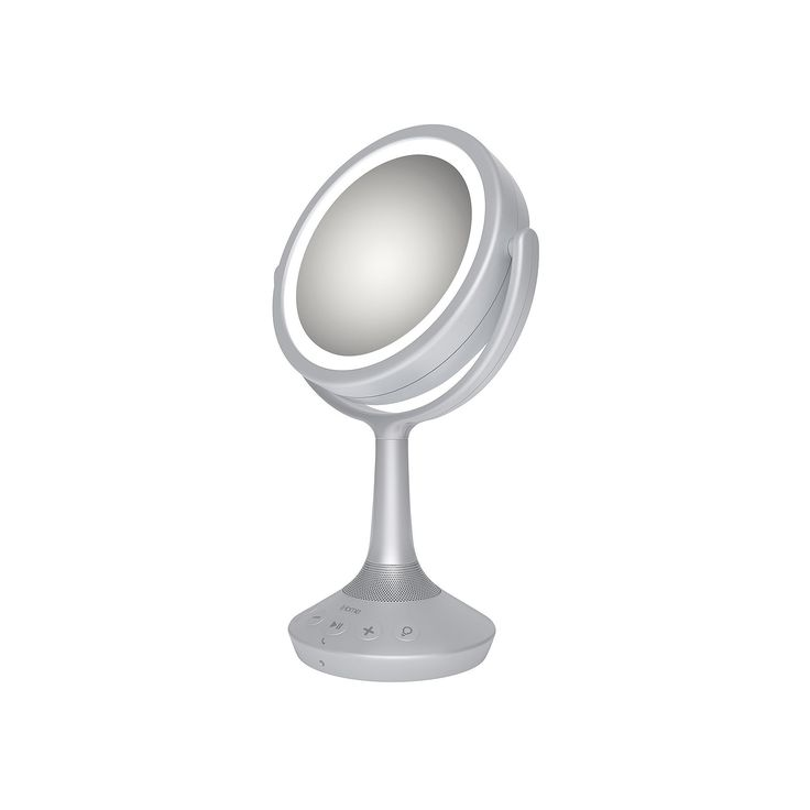 iHome 5X Double-Sided Vanity Mirror with Bluetooth Speaker, Silver