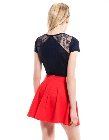 Bershka lace detail T-shirt