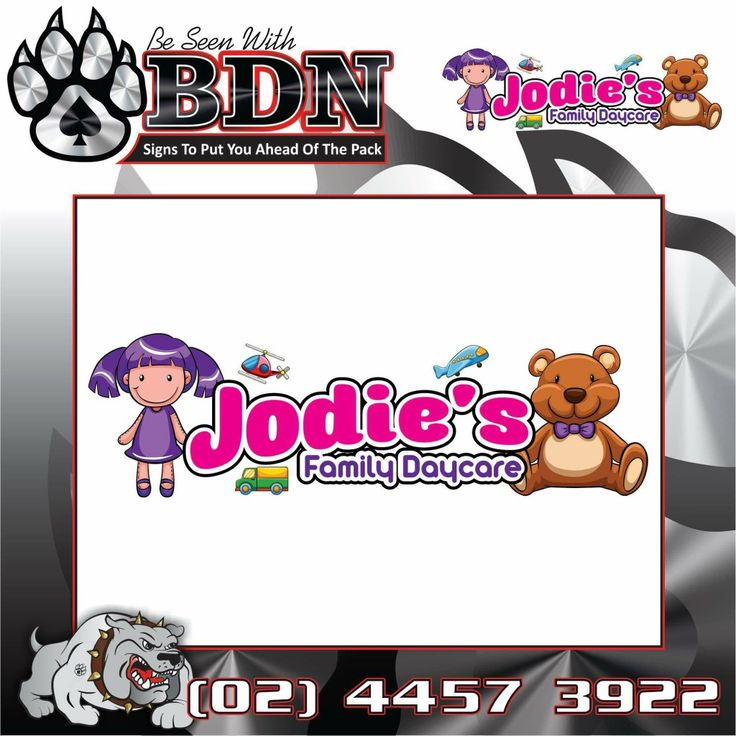 Logo design for Jodie's Family Daycare by BDN Signs Ulladulla BDN Signs  Big Dog Nation  Graphic Designer  Graphic Design  Signs  Signwriter  Designs Uniforms Designer