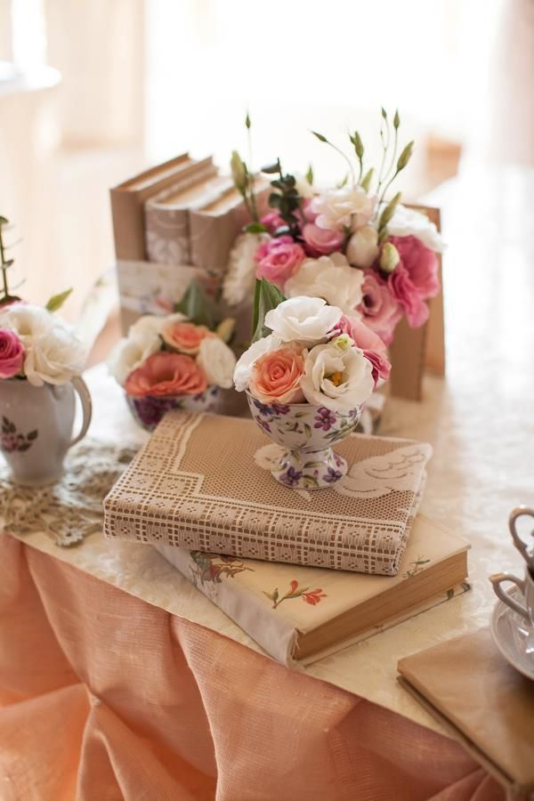 Craft paper and lace wrapped books