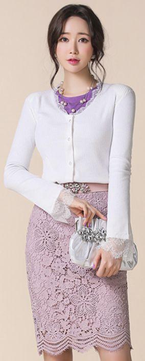 StyleOnme_Scallop Hem Floral Lace Pencil Skirt #pink #lace #elegant #pencilskirt #koreanfashion #kstyle #kfashion #dailylook #springtrend