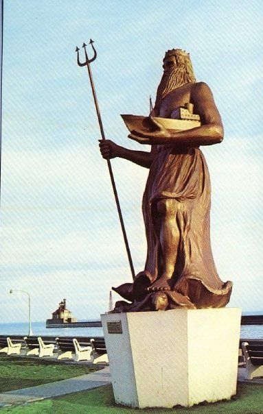 King Neptune Statue, Canal Park, Duluth, MN  had caught on fire in the late 1960's and turned to ash.  people did not like this staute and thought it was ugly. sadly I never got to see this in real life do to the fact im from the 1990s and no one else who haven't seen it in its prime never will.
