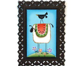 Ovejas Prim, sandía, Cuervo, marco del Metal de filigrana, letrero pintado a mano, mano pintada decoración primitiva, arte de la pared, pintura decorativa de Tole