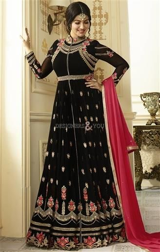 #Order Now Front Cut #Celebrity #Ayesha#Takia Advised #Black #Indo #Western #Dress #Online. This Georgette #IndoWestern #Suit Has Chinese Collared Neck And Full Sleeves. Piping, Diamond Work, Contrast Embroidery And Colorful Border Are Embellishing It. #Designers#And#You