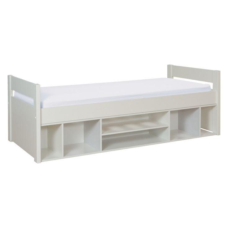 White Single Bed With Storage Part - 49: PONGO Kidsu0027 White EU Single Storage Bed 90cm