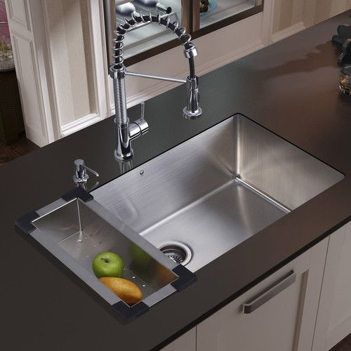 "Found it at Wayfair - 32"" x 19"" Undermount Kitchen Sink with Faucet, Colander, Strainer and Dispenser"
